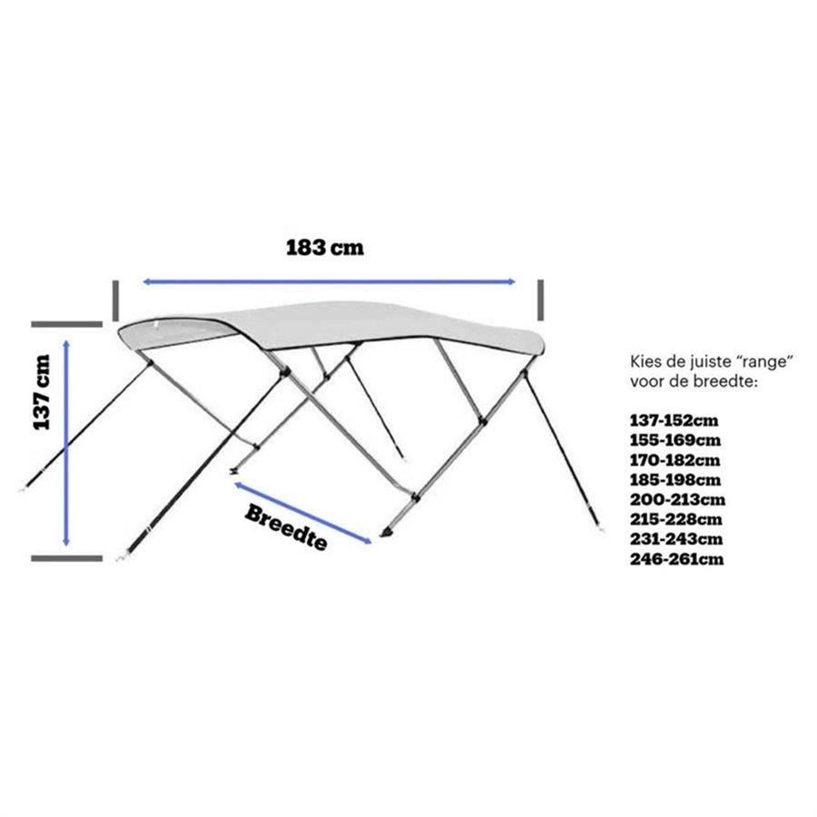 3 Boog ALU H137 Biminitop Premium DeLuxe